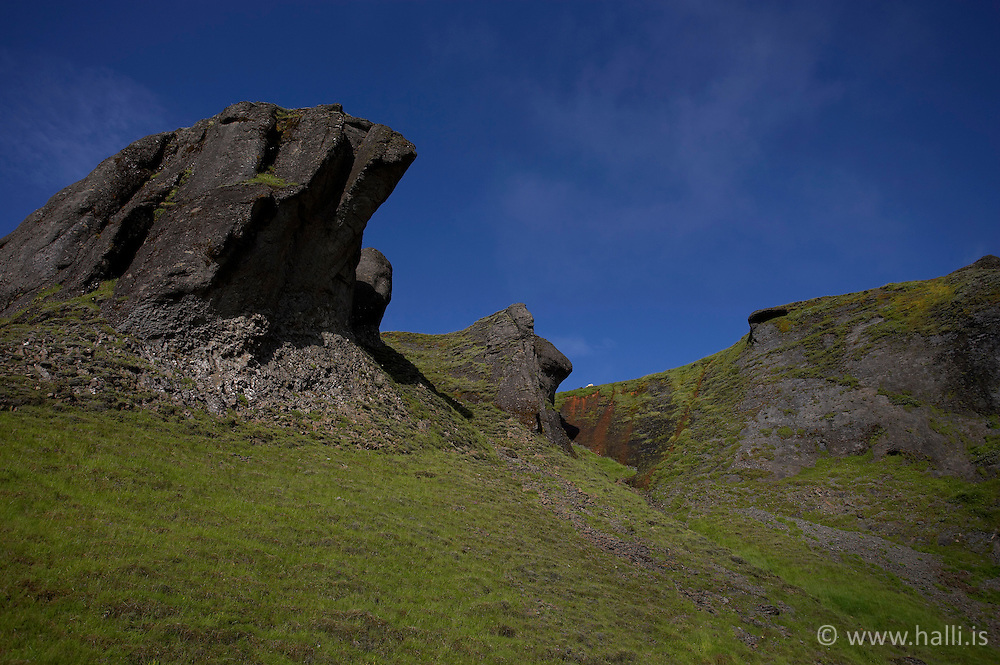 Rock at Systrastapi in Kirkjubaejarklaustur on the south coast of Iceland - Klettur við Systrastapa á Kirkjubæjarklaustri