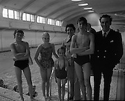 BIM Swimming Lessons For Fishermen..1972..27.05.1972..05.27.1972..27th May 1972..After a recent spate of of accidents at sea where several fishermen had drowned B.I.M.instituted a programme of swimming lessons.Skippers and crews from around the country were encouraged to take part in the hope that safety at sea would improve..At the pool in the Franciscan College,Gormanston.To encourage the fishermen to take up the swimming lessons their families were encouraged to also take part.