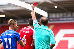 Joe Mattock of Rotherham United is shown the red card after verbal abuse towards the referee - Mandatory by-line: Ryan Crockett/JMP - 28/10/2017 - FOOTBALL - Aesseal New York Stadium - Rotherham, England - Rotherham United v Gillingham - Sky Bet League One