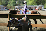 Middletown, NY - A saddle in the foreground and a horse and rider in the backgroundat the Middletown Rotary Horse Show at Fancher-Davidge Park on Sunday, Sept. 20, 2009.