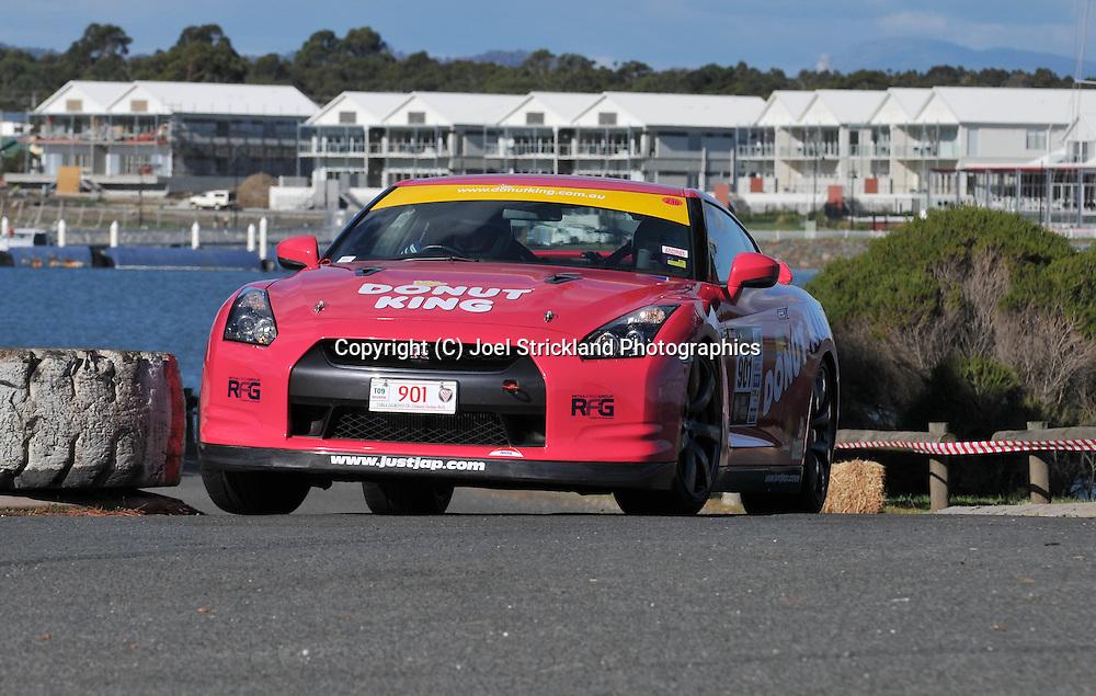 Tony Alford & Karl Farmer .2007 Nissan GTR.Prologue.George Town.Targa Tasmania 2009.28th of April 2009.(C) Joel Strickland Photographics.
