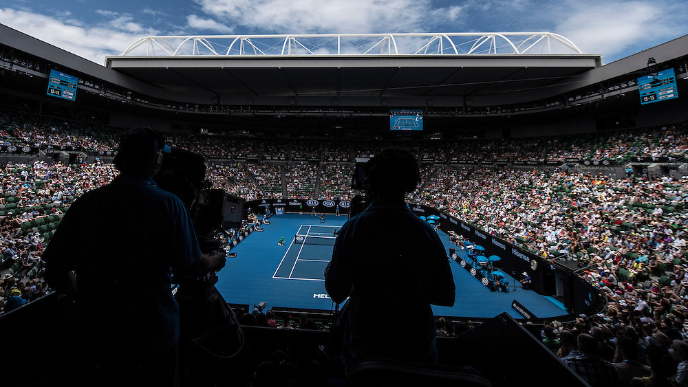 A broadcast camera on day eight of the 2017 Australian Open at Melbourne Park on January 23, 2017 in Melbourne, Australia.<br /> (Ben Solomon/Tennis Australia)