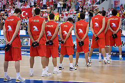 Team of Spain during the EuroBasket 2009 Group F match between Spain and Turkey, on September 12, 2009 in Arena Lodz, Hala Sportowa, Lodz, Poland.  (Photo by Vid Ponikvar / Sportida)