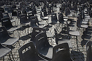 Le sedie al termine  dell'udienza generale del mercoledì in piazza San Pietro - Chairs at the end of the Wednesday general audience in St. Peter's Square.