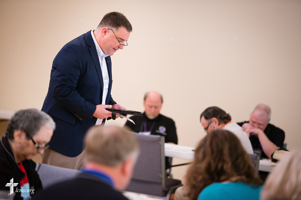 The Rev. Craig G. Muehler, director of the LCMS Ministry to the Armed Forces, opens the 2015 Operation Barnabas Conference with a devotion on Monday, Feb. 9, 2015, at Mount Calvary Lutheran Church in San Antonio, Texas.  LCMS Communications/Erik M. Lunsford