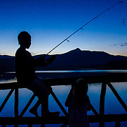 Kids fishing on Chocorua Lake, NH