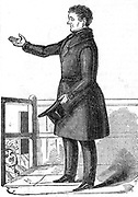 Daniel O'Connell (1775-1847) 'The Liberator', acknowledging the cheers of the crowd. Irish patriot and political leader who worked for Catholic emancipation which was granted by the British parliament in 1829, and for Repeal (of Union with Britain) movemement. From 'The Illustrated London News', 1842.