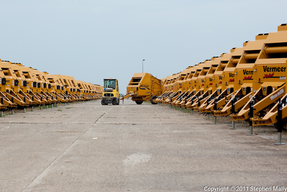 A baler is backed into a row at Vermeer in Pella, Iowa on Thursday, July 28, 2011.