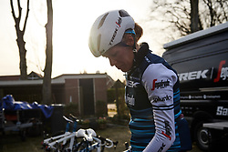 Ellen van Dijk (NED) hangs up her bike after Drentse 8 van Westerveld 2019, a 145 km road race starting and finishing in Dwingeloo, Netherlands on March 15, 2019. Photo by Sean Robinson/velofocus.com