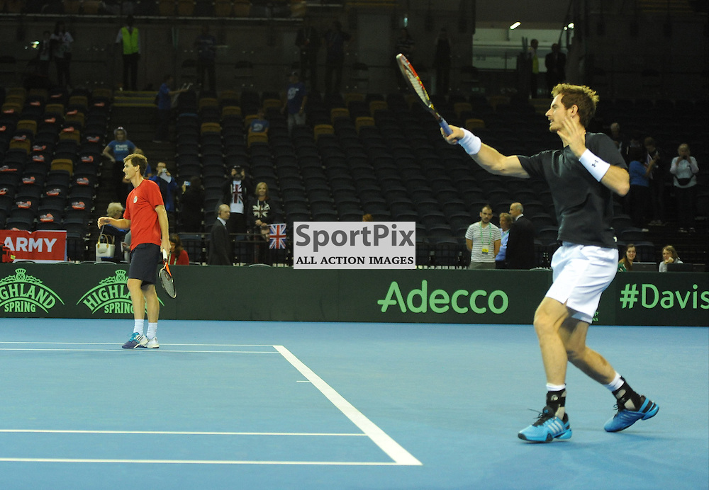 The Murray brothers warm up in preparation for the doubles rubber between Great Britain v Australia, Semi Finals,  Aegeon Davis Cup by BNP Paribas, Saturday 19 September 2015 (c) Angie Isac | SportPix.org.uk