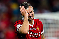 Dejan Lovren of Liverpool cuts a dejected figure after his side loses in the Champions League Final to Real Madrid - Mandatory by-line: Robbie Stephenson/JMP - 26/05/2018 - FOOTBALL - Olympic Stadium - Kiev,  - Real Madrid v Liverpool - UEFA Champions League Final
