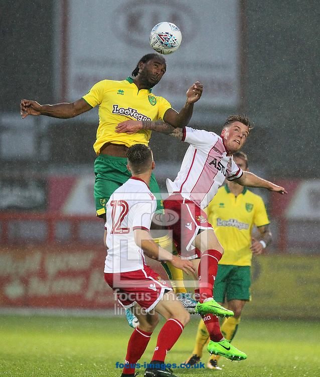 Cameron Jerome of Norwich wins a header during the Pre-season Friendly match at the Lamex Stadium, Stevenage<br /> Picture by Paul Chesterton/Focus Images Ltd +44 7904 640267<br /> 11/07/2017