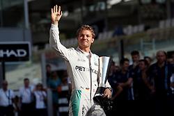 Mercedes' Nico Rosberg collects the fastest lap award before the Abu Dhabi Grand Prix at the Yas Marina Circuit, Abu Dhabi.