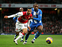 Photo: Tom Dulat/Sportsbeat Images.<br /> <br /> Arsenal v Wigan Athletic. The FA Barclays Premiership. 24/11/2007.<br /> <br /> Titus Bramble of Wigan Athletic and Theo Walcott of Arsenal with the ball.