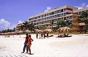 23 JULY 2002 - TRINIDAD, SANCTI SPIRITUS, CUBA: A tourist hotel at Playa Ancon beach near the colonial city of Trinidad, province of Sancti Spiritus, Cuba, July 23, 2002. Trinidad is one of the oldest cities in Cuba and was founded in 1514..PHOTO BY JACK KURTZ