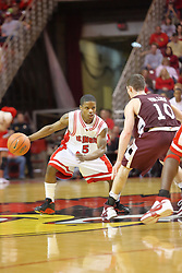 "05 January 2008:  Keith ""Boo"" Richardson works his way past Bryan Mullins. The Redbirds of Illinois State took the bite out of the Salukis of Southern Illinois winning the Conference home opener for the 'birds on Doug Collins Court in Redbird Arena in Normal Illinois by a score of 56-47."