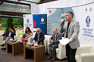 (L-R) Jerzy Raducha  (City Hall of Szczecin) and Edyta Turkiewicz (Bank PKO BP) and Piotr Kulczycki - President of STS Fryderyk Chopin Foundation and owner ship and Piotr Krzystek - President of Town Szczecin during press conference of The Tall Ships Races 2013 Final at Boathouse Restaurant in Warsaw, Poland.<br /> <br /> Poland, Warsaw, June 24, 2013<br /> <br /> Picture also available in RAW (NEF) or TIFF format on special request.<br /> <br /> For editorial use only. Any commercial or promotional use requires permission.<br /> <br /> Photo by © Adam Nurkiewicz / Mediasport