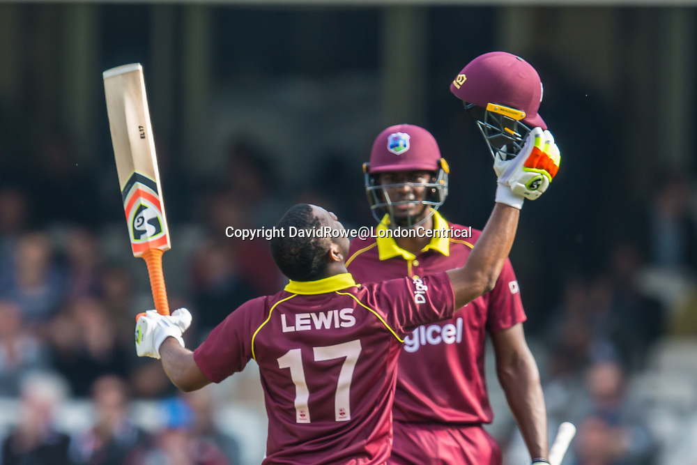 London,UK. 27 September 2017. Evin Lewis celebrates after reaching his 100 batting on his way to 176 before retiring injured. England v West Indies. In the fourth Royal London One Day International at the Kia Oval.