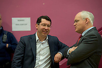Senator Ronan Mullen with Cllr  Peter Feeney at the  Count Centre at Leisureland where City County and European votes where separated Photo: andrew downes