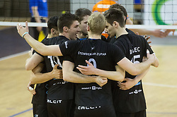 Players of Calcit celebrate during volleyball match between ACH Volley and Calcit Volleyball in Round #3 of Finals of 1. DOL Slovenian Championship 2014/15, on April 19, 2015 in Hala Tivoli, Ljubljana, Slovenia.  Photo by Vid Ponikvar / Sportida