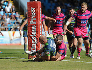 Carl Ablett of Leeds Rhinos dives over to score during the Super 8s Qualifiers match at The Big Fellas Stadium, Post Office Road, Pontefract.<br /> Picture by Richard Land/Focus Images Ltd +44 7713 507003<br /> 06/08/2016
