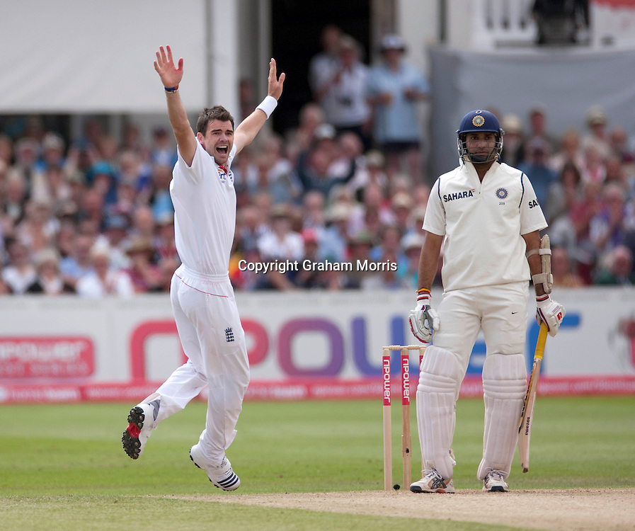 Bowler James Anderson appeals in vain for the caught behind of VVS Laxman (right) during the second npower Test Match between England and India at Trent Bridge, Nottingham.  Photo: Graham Morris (Tel: +44(0)20 8969 4192 Email: sales@cricketpix.com) 30/07/11
