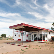 Old Esso gas station on Route 66 in Tucumcari, New Mexico