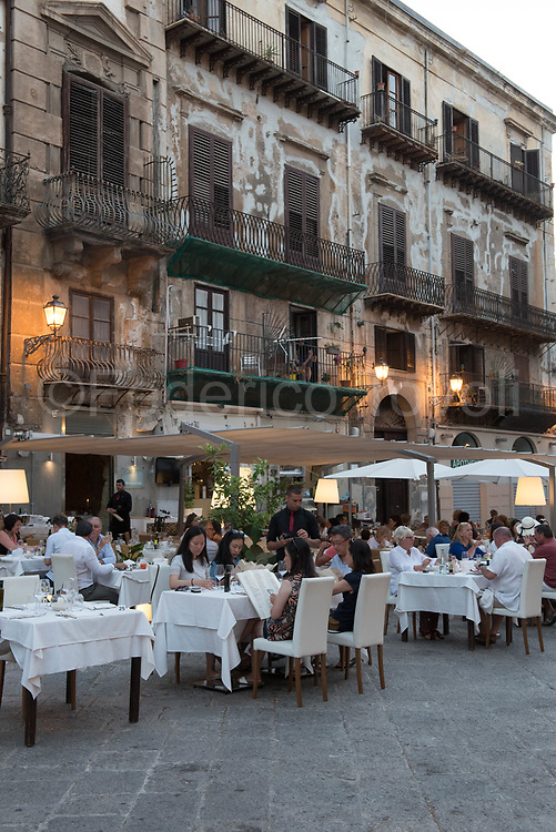 One of the open-air restaurants in the central Piazza Bologna
