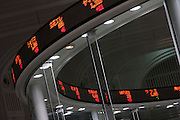 The Ticker-Tape feature that list share prices above the trading floor of the Tokyo Stock Exchange, Nihonbashi, Tokyo, Thursday, September 15th 2011. Established on May 15th 1878 the Tokyo Stock Exchange was one of the first stock exchanges in the world to fully computerize trading and now deals with over 700 trillion Yens worth of stock transaction annually, representing over 90 percent of all share dealings in the country.