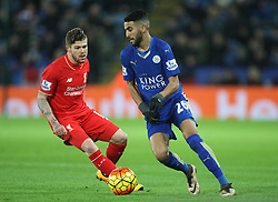 Alberto Moreno of Liverpool (L) and Riyad Mahrez of Leicester City in action - Mandatory byline: Jack Phillips/JMP - 02/02/2016 - FOOTBALL - King Power Stadium - Leicester, England - Leicester City v Liverpool - Barclays Premier League