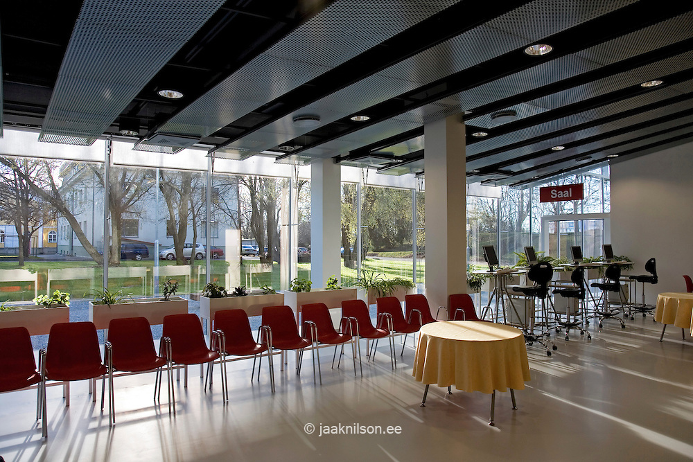 Pärnu Public Library in Estonia. Seating And Computers in Room.