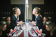 Make-up session before a ballet performance at the National Theater of Kosovo, Pristina.