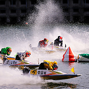 Speedboat racing at Boat Race Tokoname in Tokoname, Japan.