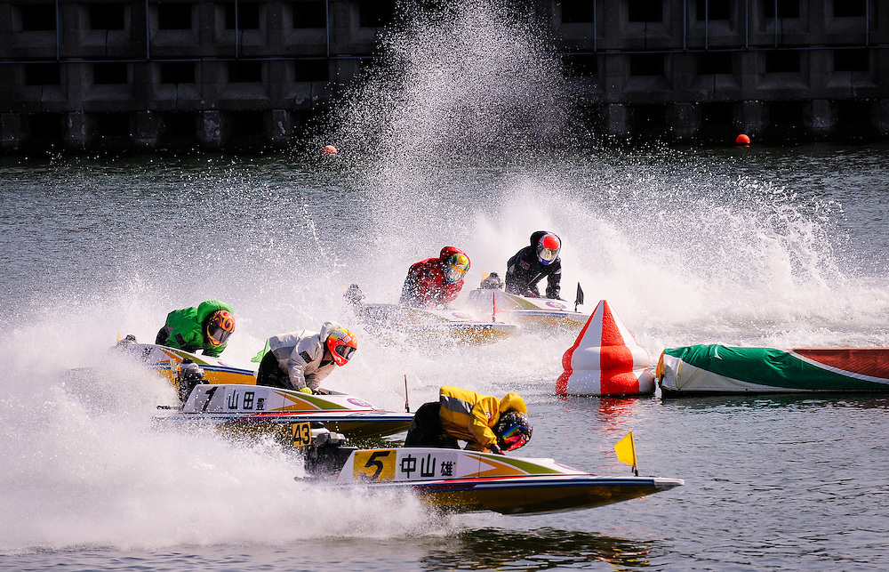Speedboat racing at Boat Race Tokoname in Tokoname, Japan.