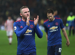 Wayne Rooney of Manchester United applauds the fans at the final whistle after breaking the all time club scoring record - Mandatory by-line: Jack Phillips/JMP - 21/01/2017 - FOOTBALL - Bet365 Stadium - Stoke-on-Trent, England - Stoke City v Manchester United - Premier League