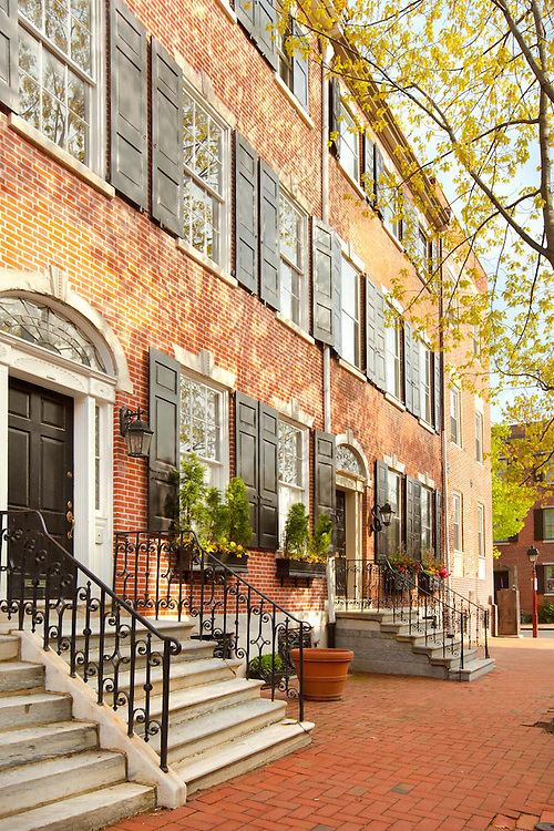 Traditional brick houses, Old city Cultural District, Philadelphia, Pennsylvania, USA