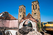 """Holy Trinity Church in Duquesne is being demolished after a storm caused the roof to collapse and make the rest of the structure unstable and unsafe.<br /> <br /> Holy Trinity Church is a gothic-revival style church dedicated in 1907 in Duquesne, Pa. <br /> <br /> Holy Trinity served its congregation until the 1960's.<br /> <br /> Duquesne was home to the Duquesne Works steel mill that was part of Carnegie Steel Corporation and later part of U.S. Steel. It was home to the largest blast furnace in the world, named the """"Dorothy Six"""""""