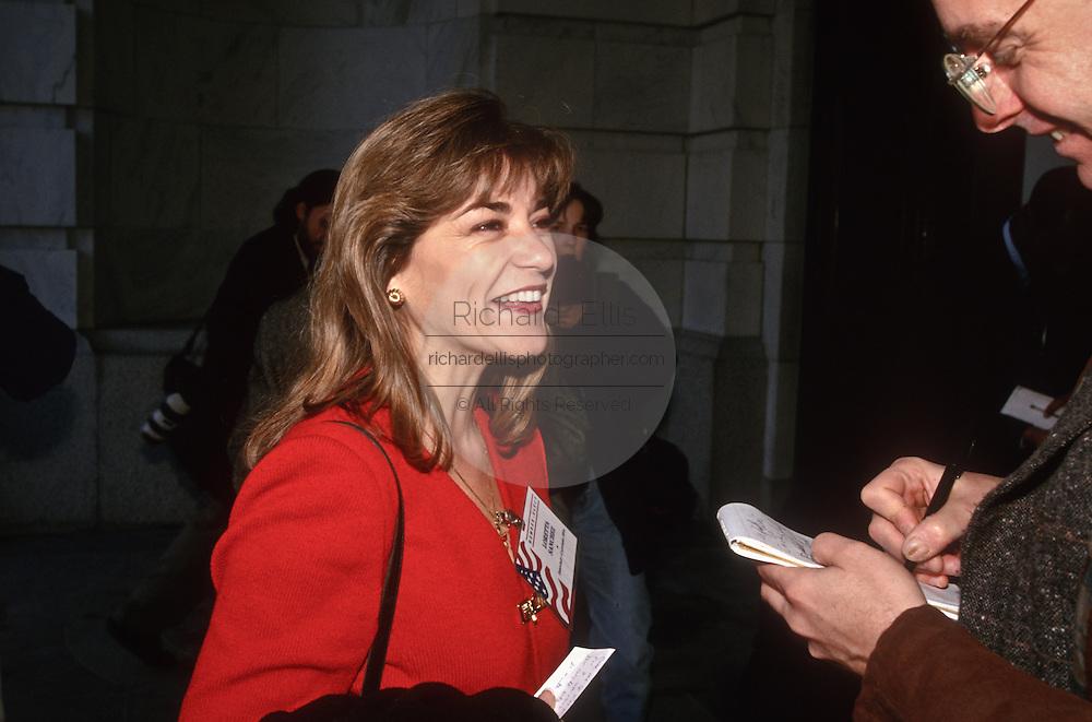 Freshman Congressional Representative Loretta Sanchez speaks to the media November 15, 1996 In Washington DC.