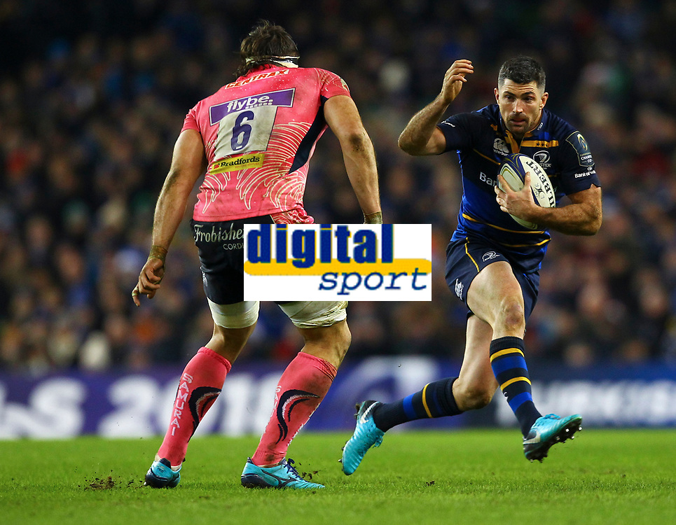 Rugby Union - 2017 / 2018 European Rugby Champions Cup - Pool Three: Leinster vs. Exeter Chiefs<br /> <br /> Leinster's Rob Kearney in action against Exeter's Don Armand, at Aviva Stadium, Dublin.<br /> <br /> COLORSPORT/KEN SUTTON