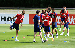 England's Harry Kane (left) during the training session at Stade Omnisport.