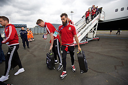 LILLE, FRANCE - Wednesday, June 15, 2016: Wales' goalkeeper Wayne Hennessey and Joe Ledley arrive in at Lille Lesquin International Airport as for their Group Stage MD 2 game of the UEFA Euro 2016 Championship against England. (Pic by David Rawcliffe/Propaganda)