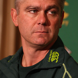 DURBAN, SOUTH AFRICA - JUNE 06, Springbok coach Heyneke Meyer during the South African national rugby team announcement at Kashmir Restaurant on June 06, 2012 in Durban, South Africa<br /> Photo by Steve Haag / Gallo Images