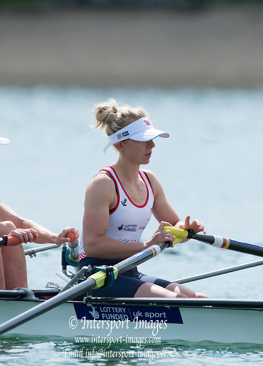 Belgrade, SERBIA,  GBR LW2X, Stroke,Kat COPELAND, waiting for the start of her heat at the 2014 FISA European Rowing Championships. Lake Sava. <br /> <br /> <br /> 10:24:28  Friday  30/05/2014<br /> <br /> [Mandatory Credit; Peter Spurrier/Intersport-images]
