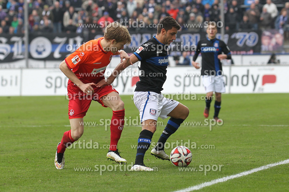 22.02.2015, Frankfurter Volksbank Stadion, Frankfurt, GER, 2. FBL, FSV Frankfurt vs 1. FC Kaiserslautern, 22. Runde, im Bild Zweikampf zwischen Michael Schulze (Kaiserslautern) u. Vincenzo Grifo (FSV Frankfurt) // during the 2nd German Bundesliga 22nd round match betweenFSV Frankfurt and 1. FC Kaiserslautern at the Frankfurter Volksbank Stadion in Frankfurt, Germany on 2015/02/22. EXPA Pictures &copy; 2015, PhotoCredit: EXPA/ Eibner-Pressefoto/ Roskaritz<br /> <br /> *****ATTENTION - OUT of GER*****