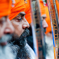 London, UK - 7 April 2013: One of the Panj Piare during the celebrations of Nagar Kirtan in Southall.