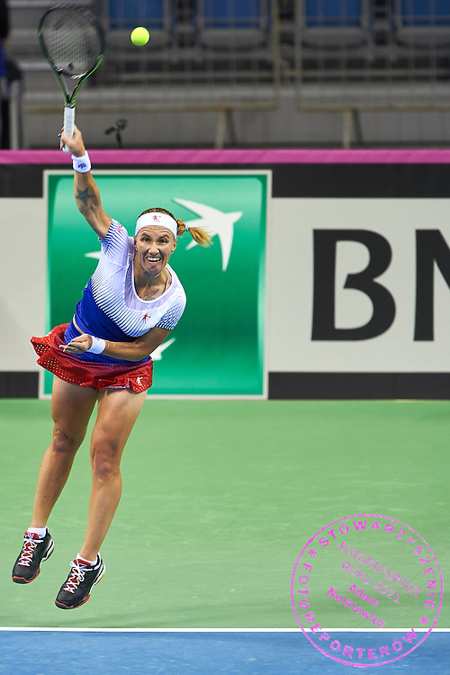 Svetlana Kuznetsova from Russia in action during First Day of the Fed Cup / World Group 1st round tennis match between Poland and Russia at Tauron Krakow Arena on February 7, 2015 in Cracow, Poland.<br /> <br /> Poland, Cracow, February 7, 2015<br /> <br /> Picture also available in RAW (NEF) or TIFF format on special request.<br /> <br /> For editorial use only. Any commercial or promotional use requires permission.<br /> <br /> Adam Nurkiewicz declares that he has no rights to the image of people at the photographs of his authorship.<br /> <br /> Mandatory credit:<br /> Photo by &copy; Adam Nurkiewicz / Mediasport