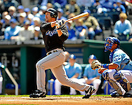 April 27, 2008 - Kansas City, MO..Third basemen Scott Rolen #33 of the Toronto Blue Jays hits a solo homerun in the first inning against the Kansas City Royals at Kauffman Stadium in Kansas City, Missouri on April 27, 2008...The Blue Jays defeated the Royals 5-2.  .Peter G. Aiken/CSM
