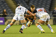 Luke Crosbie under pressure during the Guinness Pro 14 2018_19 match between Edinburgh Rugby and Cardiff Blues at Murrayfield Stadium, Edinburgh, Scotland on 23 February 2019.