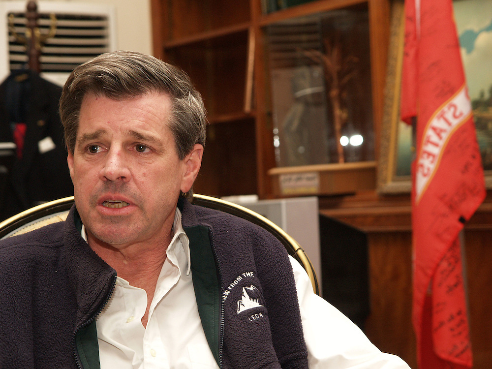 24 April 2004....Baghdad, Iraq....Ambassador Paul Bremer......US Ambassador to Iraq Paul Bremer in his office in the 'Green Zone' in Baghdad from where he does most of his work.....After almost one year working in Iraq he speaks of his satisfaction with the progress the coalition has made in stabalising the country. He comments also on his concerns, his day to day life and the challenges of working in Iraq.