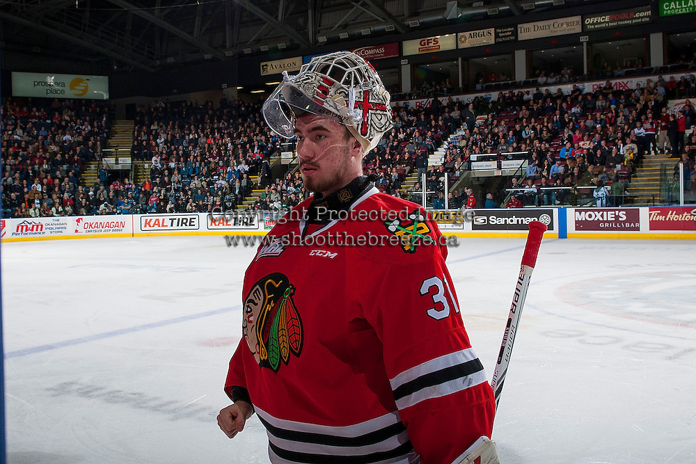 KELOWNA, CANADA - JANUARY 21: Cole Kehler #31 of the Portland Winterhawks stands at the bench during a time out against the Kelowna Rockets on January 21, 2017 at Prospera Place in Kelowna, British Columbia, Canada.  (Photo by Marissa Baecker/Shoot the Breeze)  *** Local Caption ***